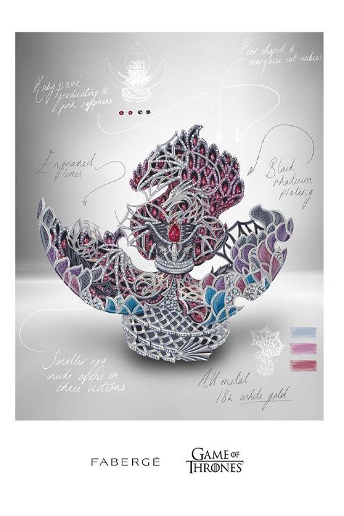 Desenho do interior do ovo de dragão Fabergé inspirado em 'Game of Thrones', com um dragão alado e uma versão de uma coroa em miniatura