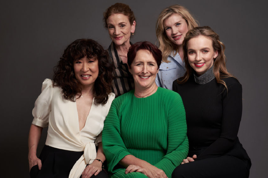 Sally Woodward Gentle, Emerald Fennell, Sandra Oh, Fiona Shaw, e Jodie Comer, de Killing Eve.