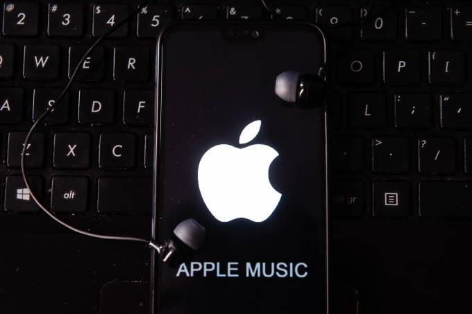 In this photo illustration the Apple Music logo seen