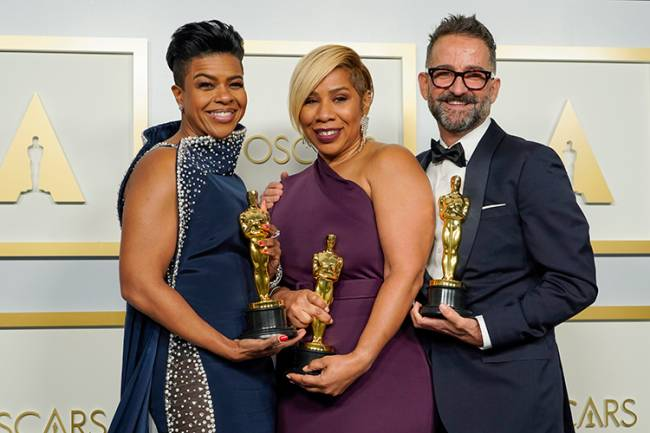 LOS ANGELES, CALIFORNIA – APRIL 25: (L-R) Mia Neal, Jamika Wilson, and Sergio Lopez-Rivera, winners of Makeup and Hairstyling for