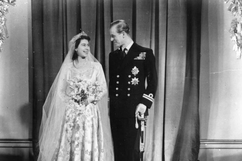 Princesa Elizabeth com Philip Mountbatten no dia do casamento -