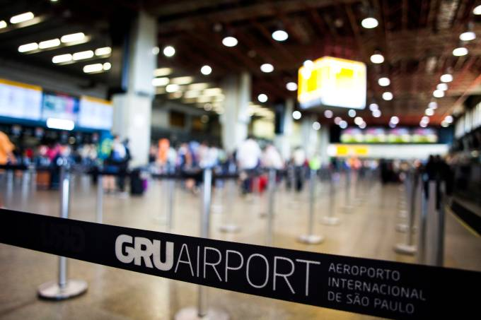 Scene from inside of GRU airport in Sao Paulo.