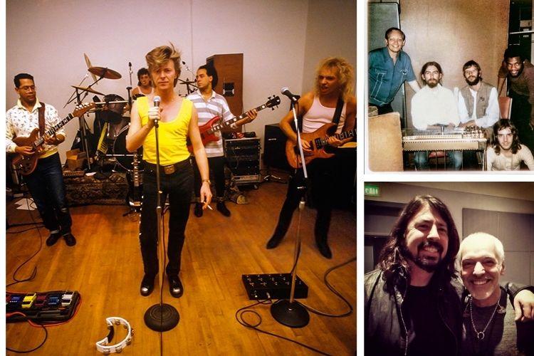 ÁLBUM DO ROCK -Frampton e os amigos: acima, no canto direito do palco, com Bowie; no alto à dir., ainda iniciante e sentado no chão, gravando com George Harrison e Ringo; e com Dave Grohl, seu fã -