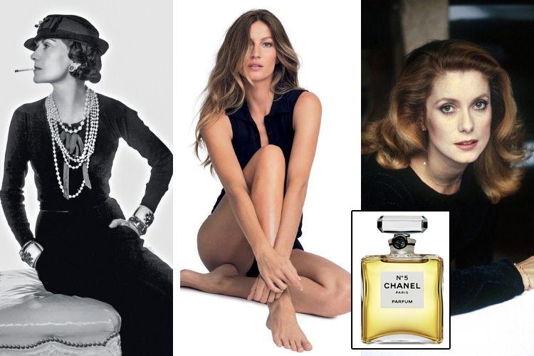 ÍCONES -Chanel (à esq), Deneuve (à dir.), Bündchen (meio) e o frasco icônico: mulheres fascinantes construíram a reputação da fragrância -