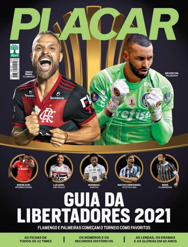 Capa da Revista Placar que traz o guia da Libertadores 2021 -
