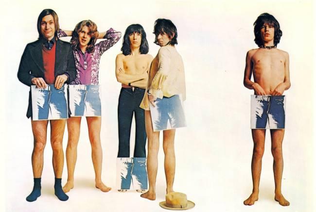 A banda Rolling Stones em material de divulgação de Sticky Fingers