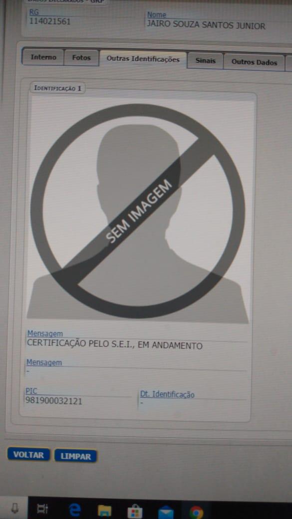 Ficha penitenciária de Dr. Jairinho sem a foto
