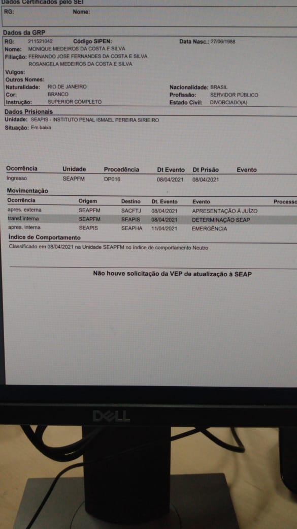 Ficha prisional de Monique Medeiros, mãe de Henry