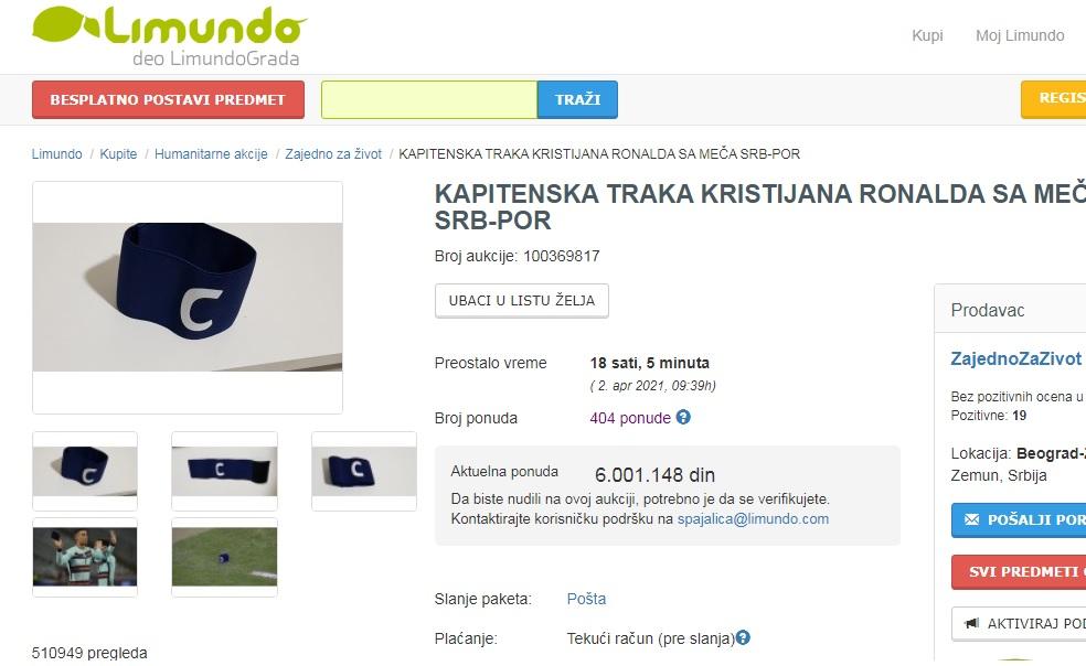 Leilão da faixa de capitão usada por Cristiano Ronaldo