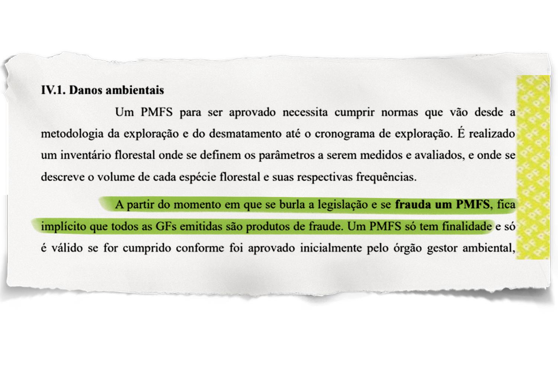 """PROCESSO -Trecho do inquérito da PF: """"GFs (guias florestais) são produtos de fraude"""" -"""