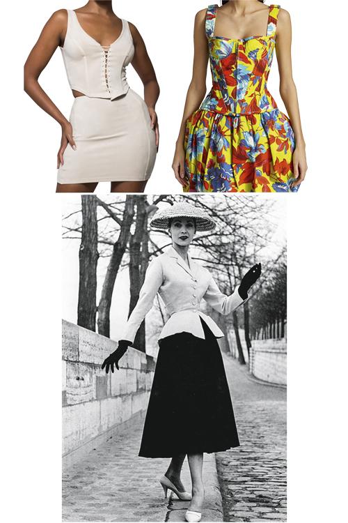 NAS RUAS -Vaivém: o acessório nas versões atuais das grifes ASOS (à esq.), Christopher John Rogers e no traço do New Look de Dior logo depois da II Guerra -