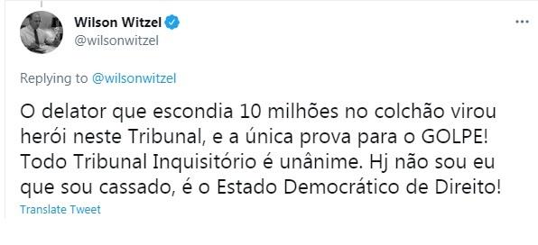 tweet de Witzel pós impeachment