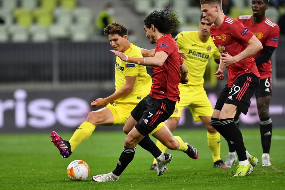 O uruguaio Edinson Cavani em ação na partida final da Europa League -