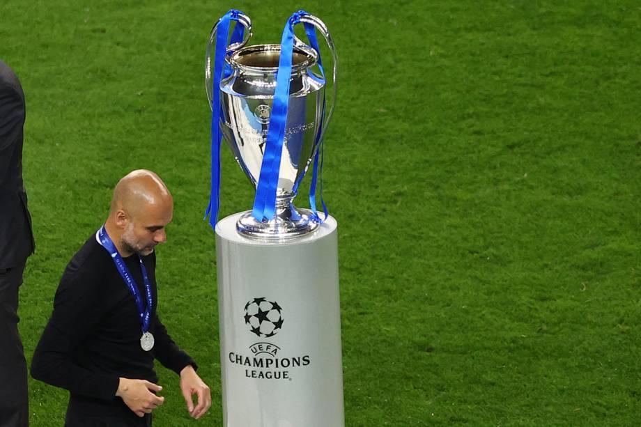Pep Guardiola não conseguiu levar o Manchester ao título inédito da Liga dos Campeões -
