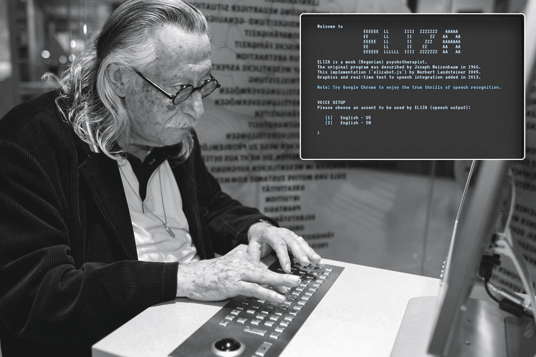 PIONEIRO -Weizenbaum, criador de Eliza, o primeiro software a processar a linguagem: a simulação de uma sessão de terapia entre paciente e máquina com diálogos apenas superficiais foi sendo aperfeiçoada até alcançar o padrão de tratamento atual -