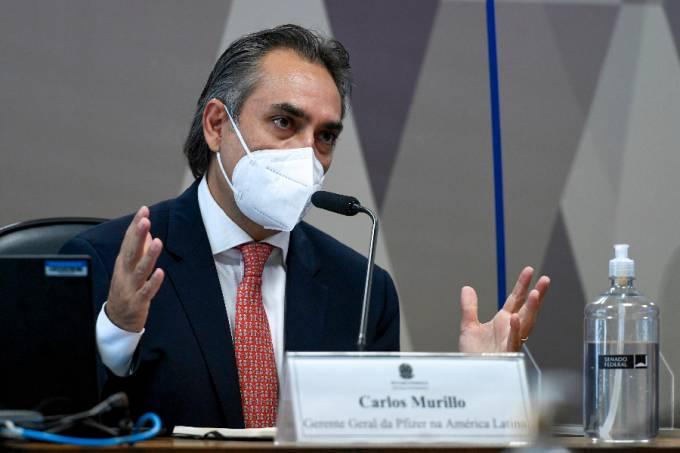 Ex-presidente da Pfizer no Brasil Carlos Murillo durante depoimento na CPI da Pandemia – 13/05/2021 –