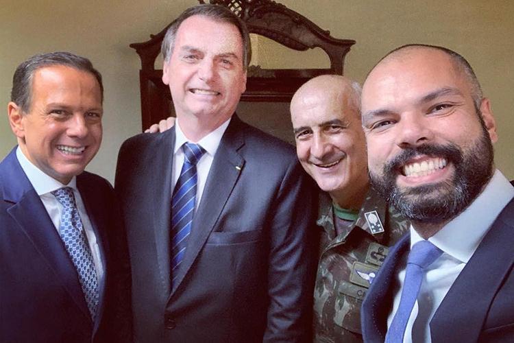 Bruno Covas ao lado de João Doria, Jair Bolsonaro e General Luiz Eduardo Ramos, em 2019 -