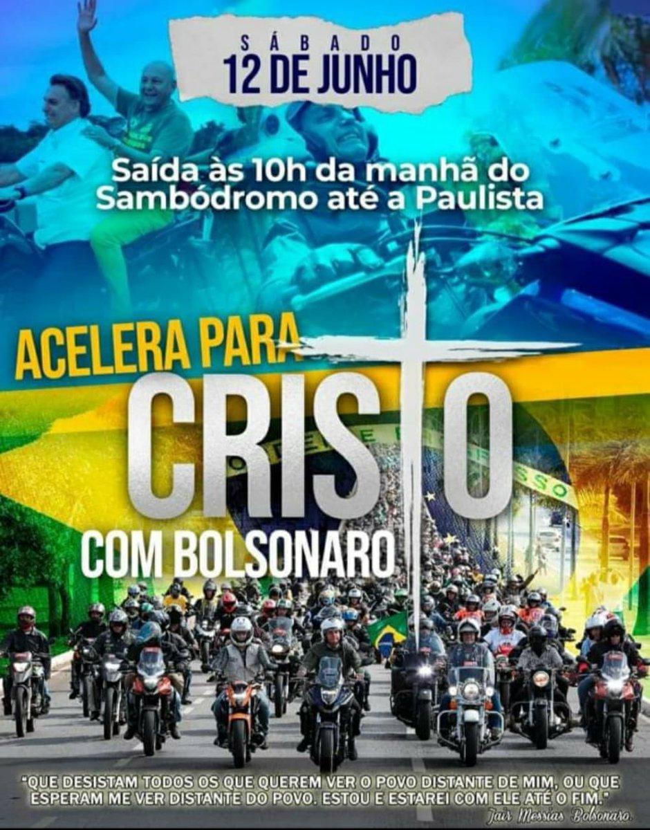 Imagem usada para convocação de passeio de motos com Bolsonaro no dia 12 de junho, em São Paulo