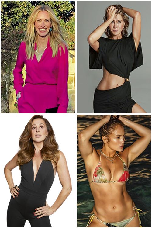 MELHOR AGORA -Estrelas nunca param de brilhar: no sentido horário, Julia Roberts (53), protagonista de série de sucesso na Amazon; Jennifer Aniston (52), cachê milionário no retorno de Friends; Jennifer Lopez (51), mais sexy do que nunca; e Claudia Raia (54), em forma para fazer novos musicais -
