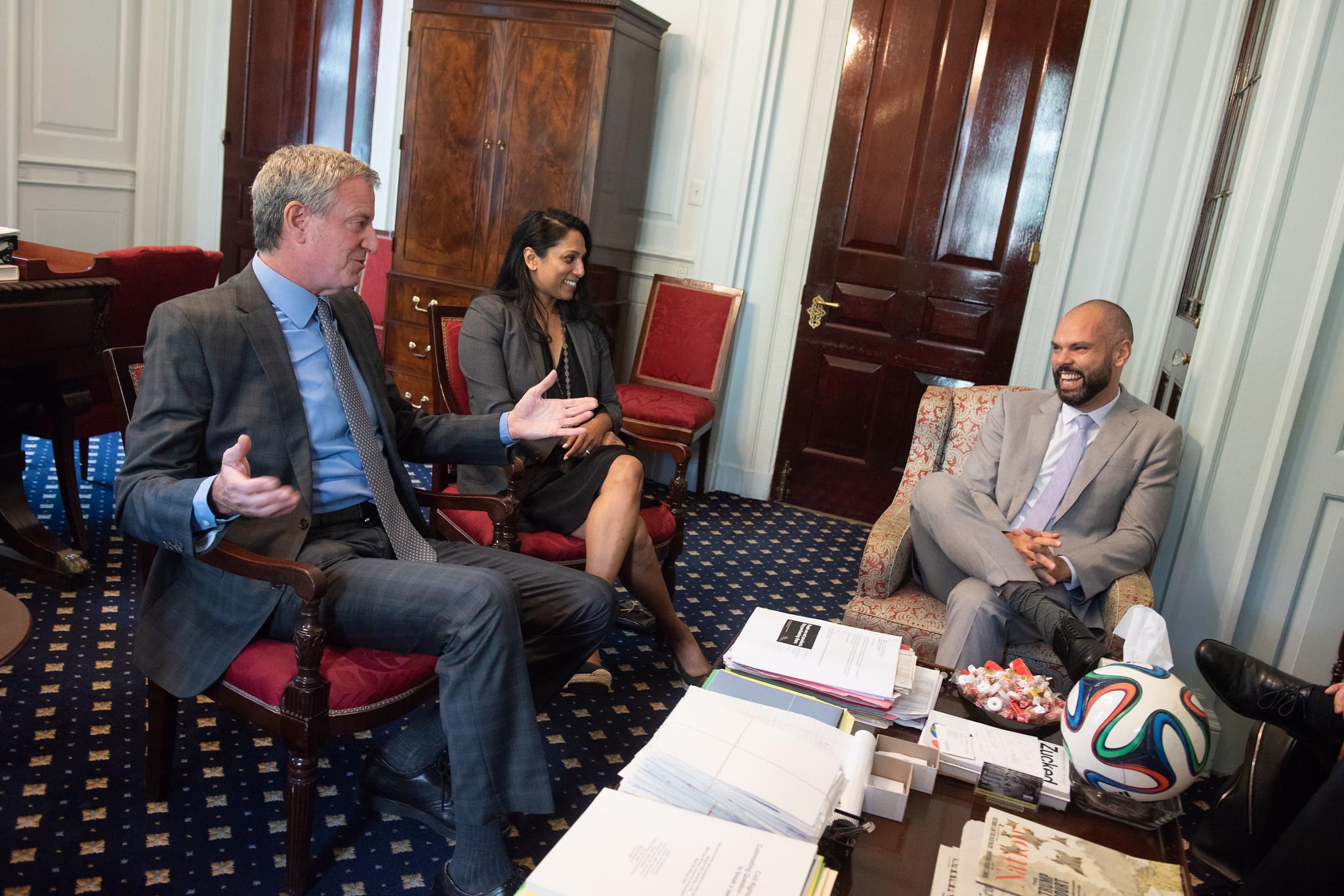 O Prefeito Bill de Blasio se reúne com o prefeito de São Paulo, Bruno Covas, na prefeitura, na terça-feira, 16 de julho de 2019. Michael Appleton / Gabinete de Fotografia da Prefeitura