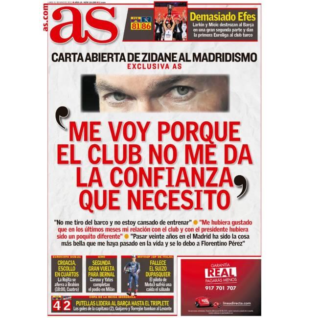 Capa do jornal As, com as declarações de Zidane -