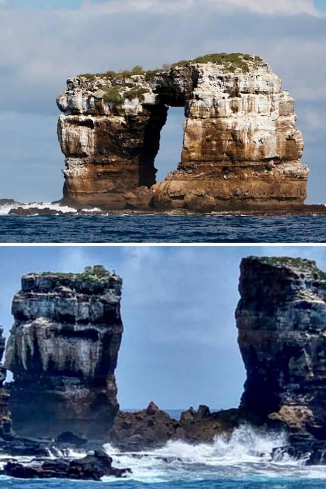O antes e depois dos Arcos de Darwin -