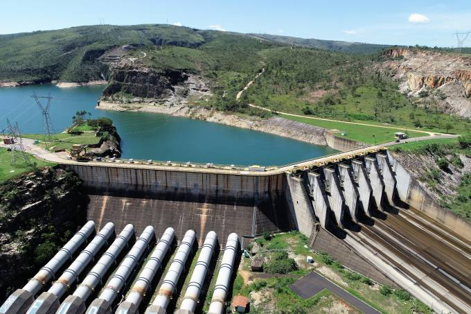 Aerial view of Furnas's Hydroeletric, Minas Gerais, Brazil. Energy generation. Furnas's lagoon. Travel destination. Tropical travel. Tourism point.