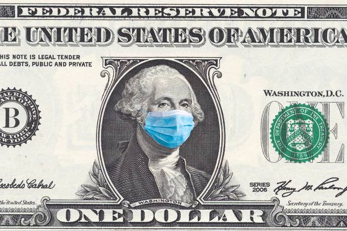 US quarantine, 1 dollar banknote with medical mask. The concept of epidemic and protection against coronavrius.