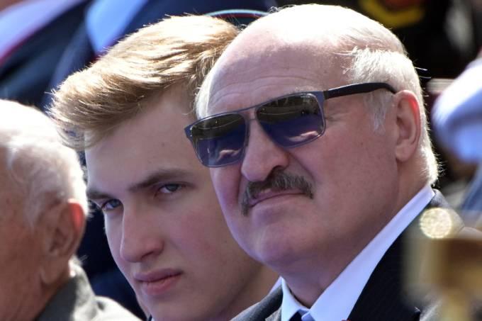 President of Belarus Alexander Lukashenko with his son Nikolai