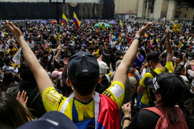 May Day Protests during a strike against Tax Reform Bill in Colombia