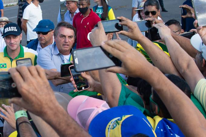 President Bolsonaro Attends a Protest in Support of His Government