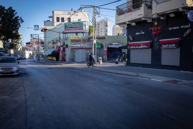 Comércios fechados em Jaffa, a 55 quilômetros de Jerusalém, durante greve geral. 18/05/2021