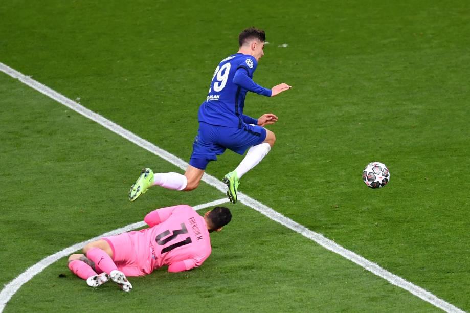Chelsea celebra o gol de Kai Havertz na final da Liga dos Campeões