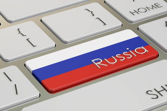 Russia flag button on keyboard, 3D rendering
