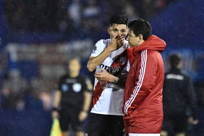 Enzo Perez e Marcelo Gallardo, do River Plate
