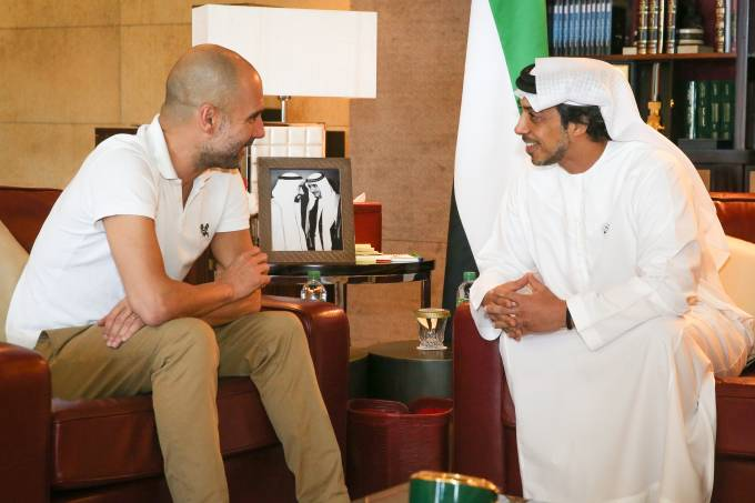 Pep Guardiola meets HH Sheikh Mansour bin Zayed Al Nahyan at the Presidential Affairs Office in Abu Dhabi