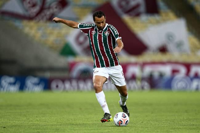 Nenê durante a partida entre Fluminense e Santa Fé, no Maracanã -