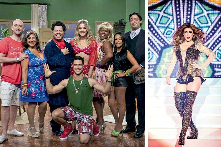 SUCESSO -Campeões de audiência: na série Vai que Cola, a mais vista da TV fechada, e na peça 220 Volts, em que faz paródia da cantora Beyoncé (à dir.) -