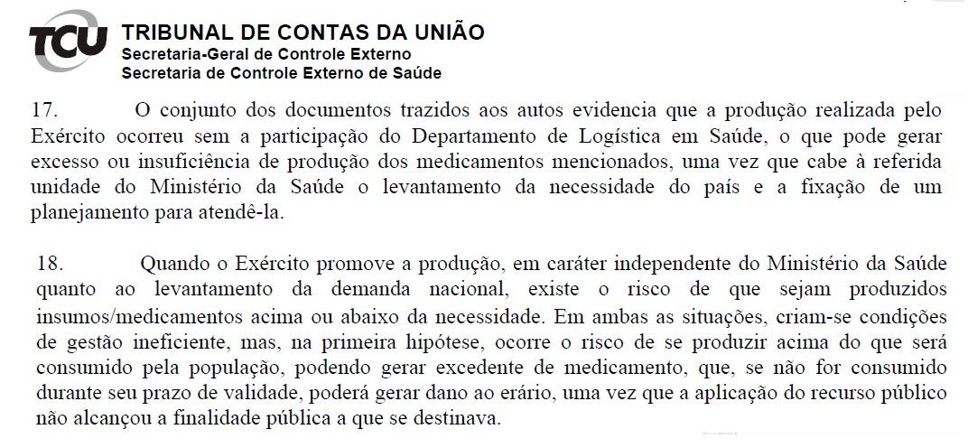 Documento do TCU mostra que Exército Brasileiro agiu sem conhecimento do Ministério da Saúde na fabricação de Cloroquina