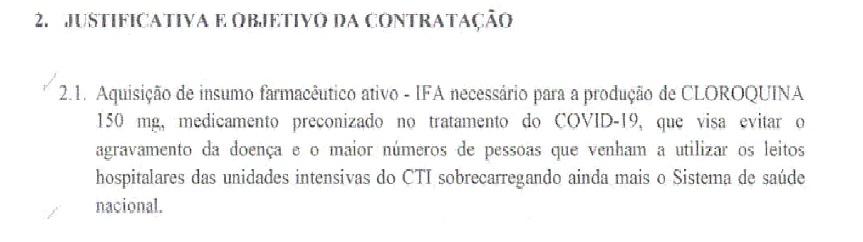 Documento do Exército Brasileiro que justifica a dispensa de licitação para compra de difosfato de cloroquina