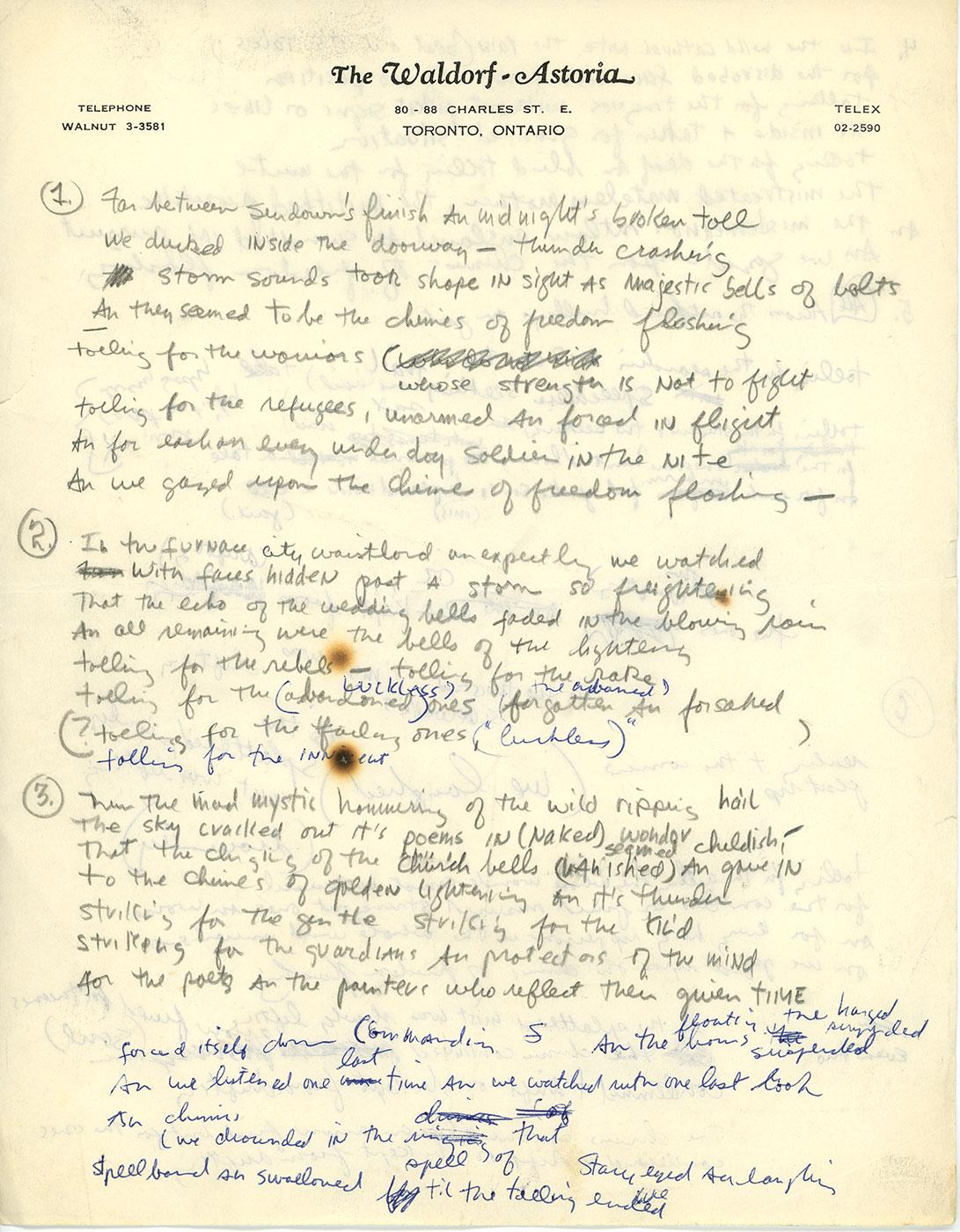 Manuscrito de Bob Dylan que estará em exposição em novo museu dedicado ao músico