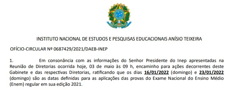 Documentto interno do Inep define dias 16 e 23 de janeiro de 2022 como datas da realização do Enem