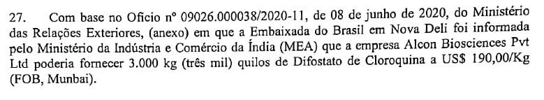 Documento do Exército informa que o Ministério das Relações Exteriores trabalhou para garantir compra de cloroquina de empresa indiana