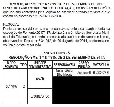 Reprodução da resolução que nomeou Moana como responsável por fiscalizar contratos do