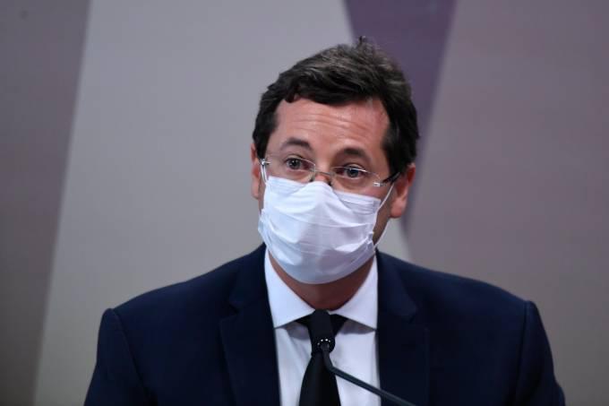 O ex-secretário de Comunicação Social da Presidência da República Fabio Wajngarten., presta depoimento à CPI da Pandemia no Senado