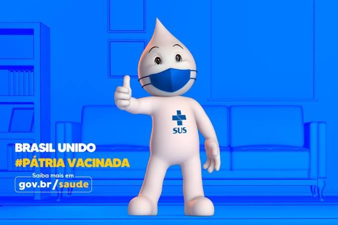 O personagem Zé Gotinha apareceu nas redes sociais do Ministério da Saúde na quinta-feira passada, de máscara