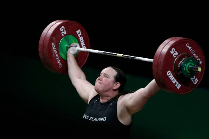 New Zealand's Laurel Hubbard competing during the women's +90kg weightlifting final at the 2018 Gold Coast Commonwealth Games in Gold Coast