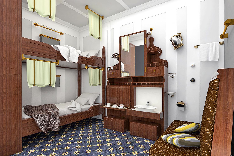 VIAGEM -Reprodução de um quarto da segunda classe: estada de 500 dólares -