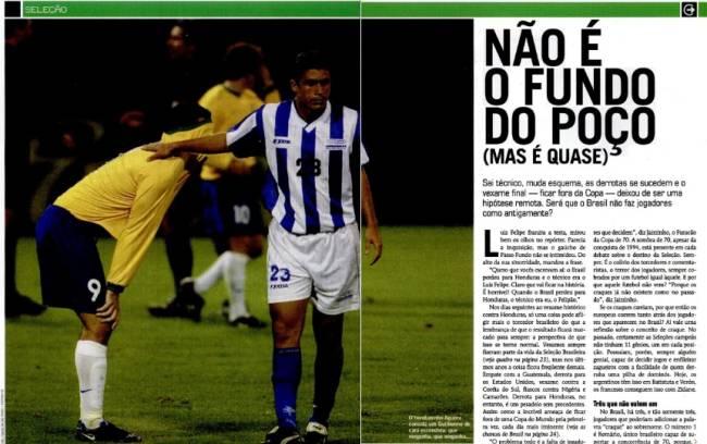 Edição de julho de 2001 destacou derrota contra Honduras