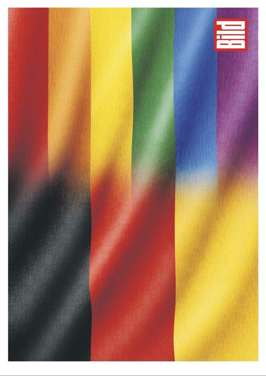 Capa do jornal Bild mesclou a bandeira alemã com a do movimento LGBT+ -